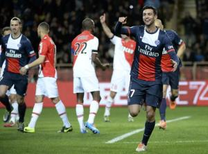Javier Pastore celebrates opening the scoring against Monaco. (©GettyImages)