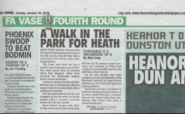 FA Vase - Flackwell Heath vs Hullbridge Sports - Published Sunday 18th January 2015