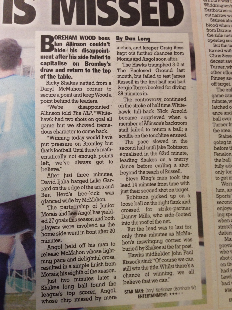 Conference South Star Match - Boreham Wood vs Whitehawk - Published Sunday 15th March 2015