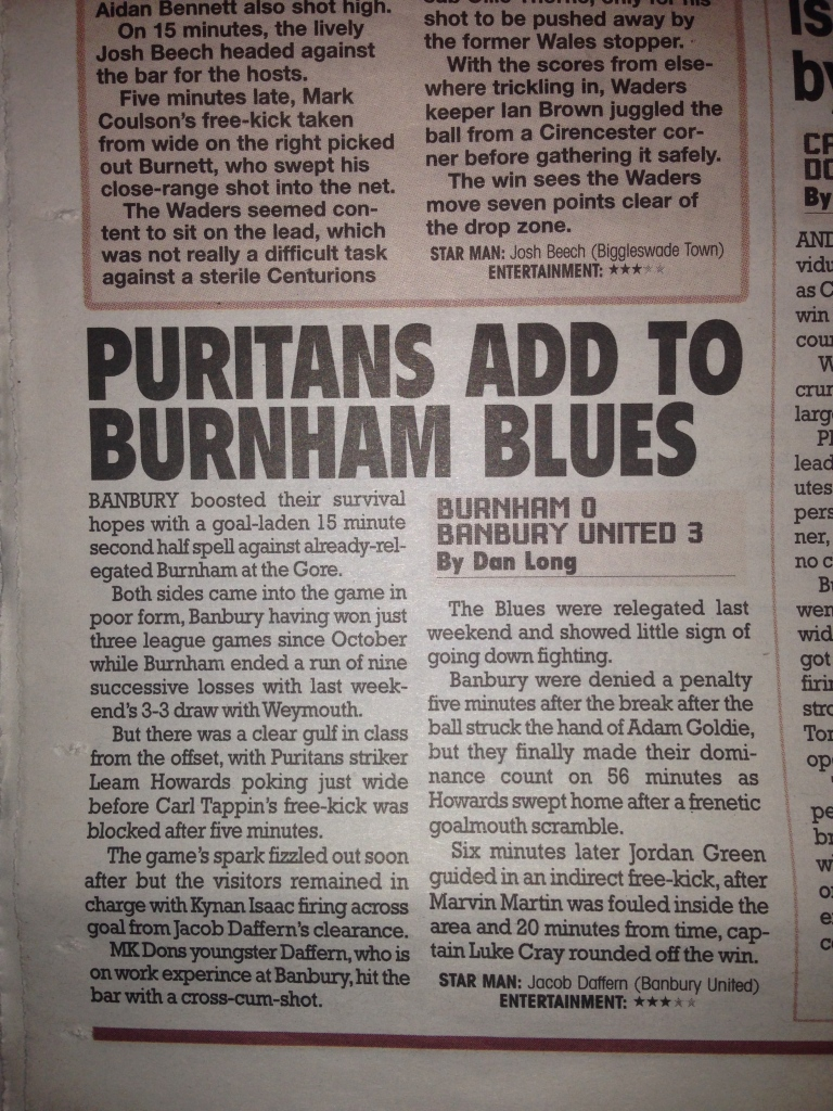 Evo-Stik Southern Premier League - Burnham vs Banbury United - Published Sunday 5th April 2015